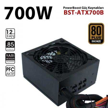POWER BOOST BST-ATX700B 700W 12cm FANLI POWER SUPPLY 80+ BRONZE AKTİF PFC