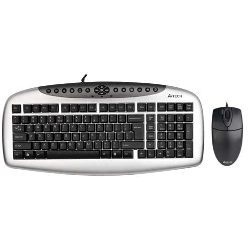 A4 TECH KB-21620D USB KABLOLU MULTİMEDYA Q KLAVYE+MOUSE SET SİYAH/GRI