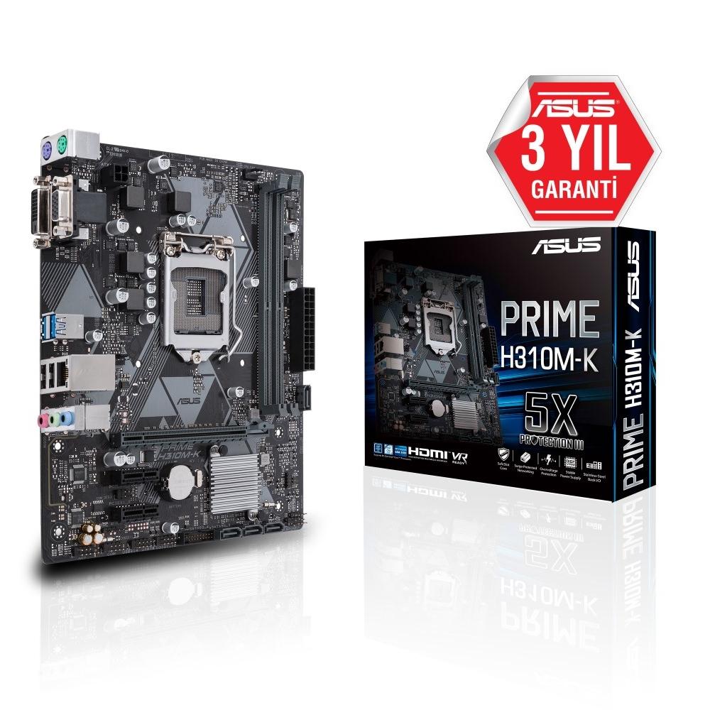 ASUS PRIME H310M-K R2.0  H310 2xDDR4 VGA/DVI 1xGLAN USB 3.1 16X 1151v2 PIN ANAKART