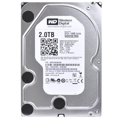 WD GREEN 2TB INTELIPOWER 64MB SATA3 WD20EZRX RECERTIFIED HDD
