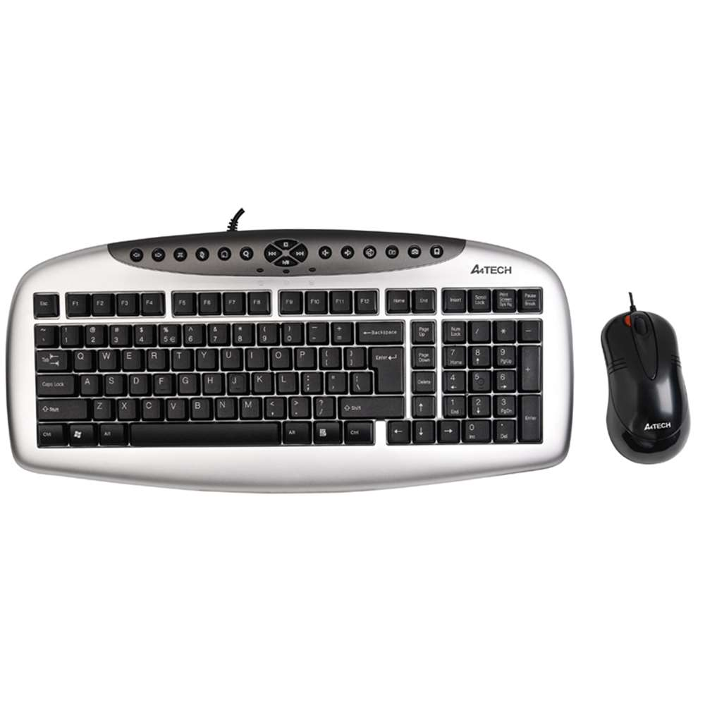 A4 TECH KB-2150D USB KABLOLU MULTİMEDYA Q KLAVYE+MOUSE SET GRI