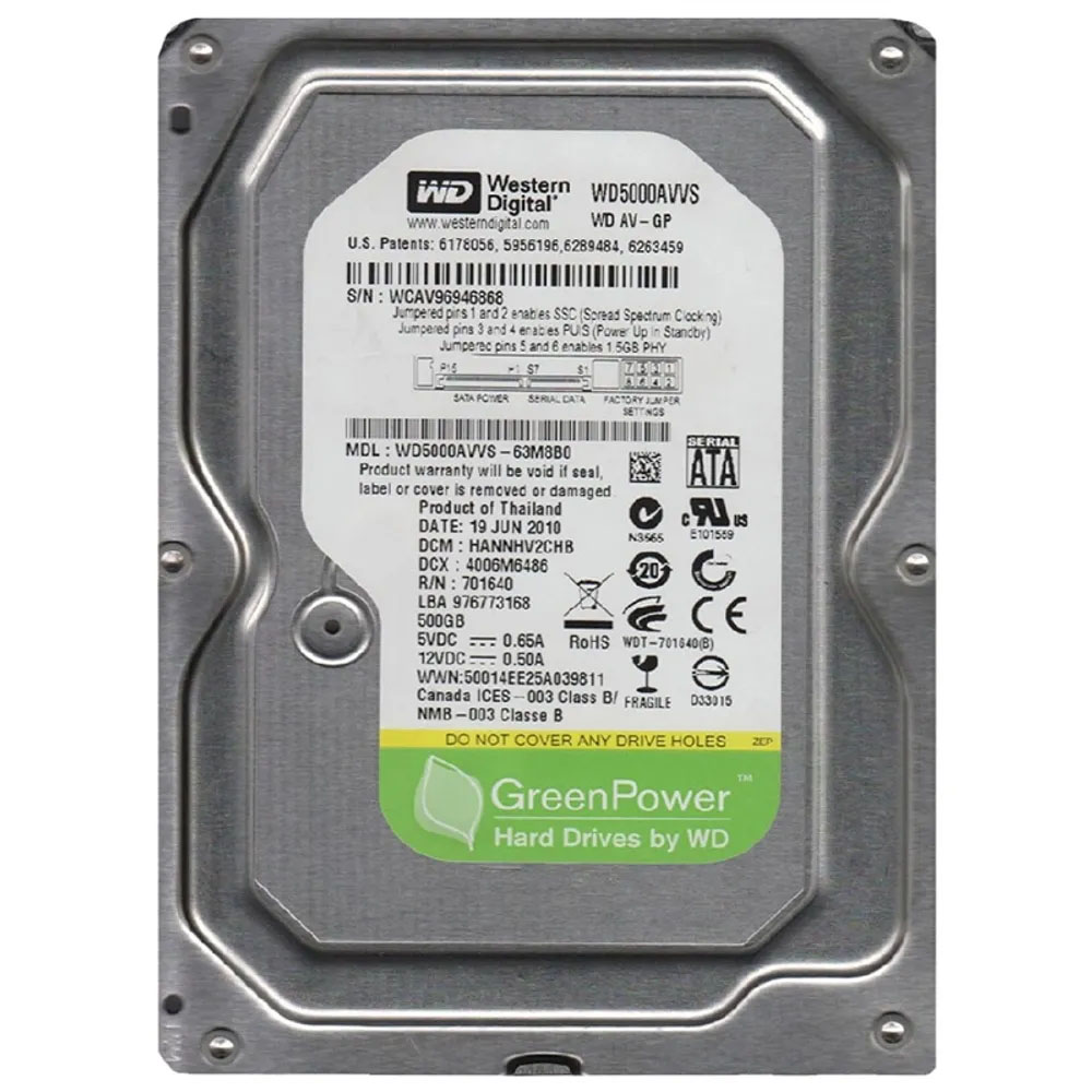 WD GREEN 500GB INTELIPOWER 32MB SATA3 6Gbit/sn WD5000AVVS RECERTIFIED HDD