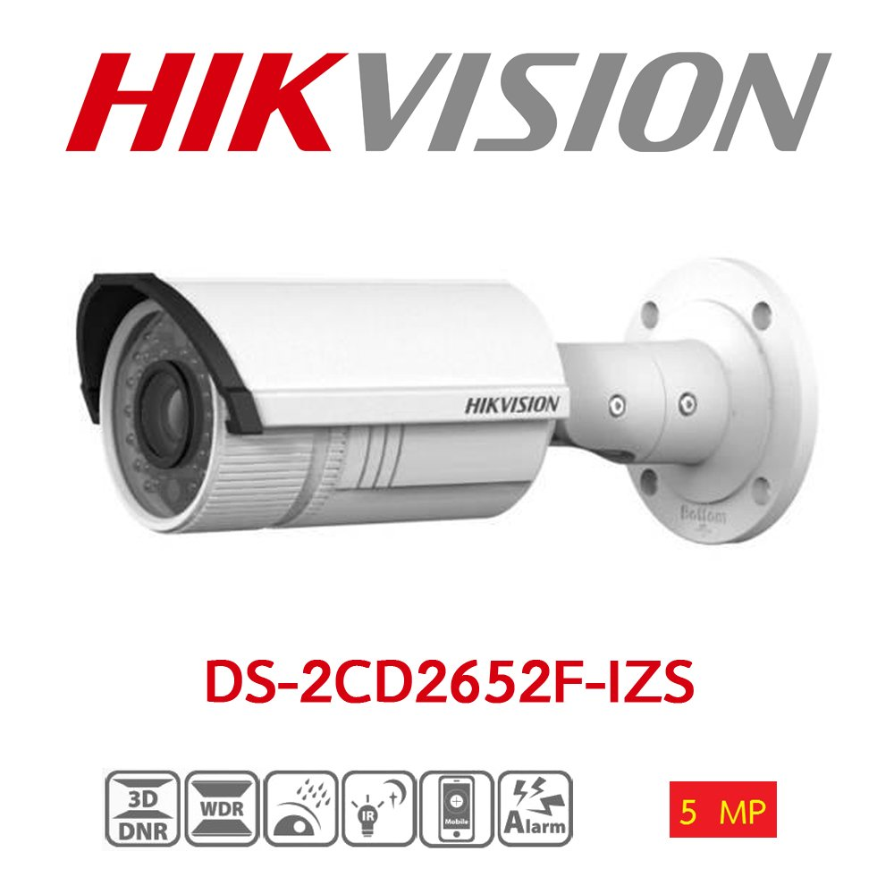 HIKVISION DS-2CD2652F-IZS 5MP 2.8-12MM MOTORIZE 30MT BLC/D-WDR/3D-DNR IP66 POE/ONVIF H.264/H.264+/MJPEG METAL KASA IP GE