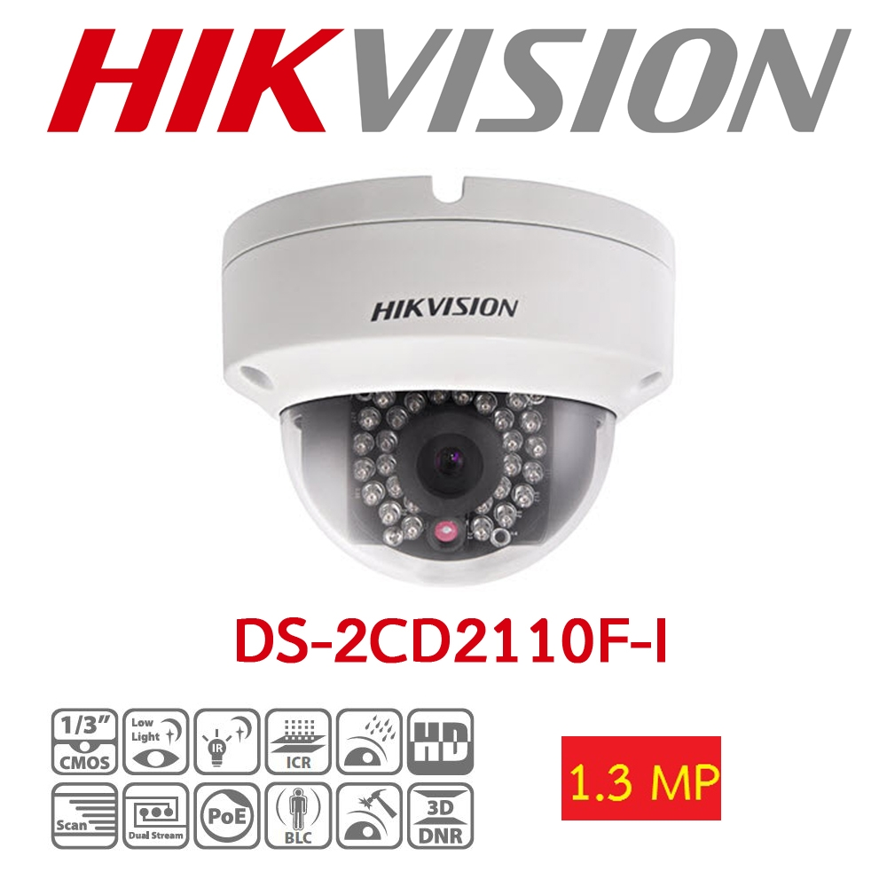 HIKVISION DS-2CD2110F-I 1.3MP 4MM 30MT BLC, ROI, 3D DNR IP67 - IK10 POE/ONVIF METAL KASA IP DOME KAMERA