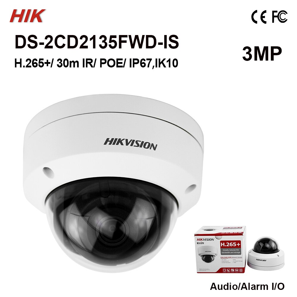 HIKVISION DS-2CD2135FWD-IS 3MP 2.8MM 30MT BLC, ROI, 3D DNR IP67 - IK10 POE/ONVIF METAL KASA IP DOME KAMERA