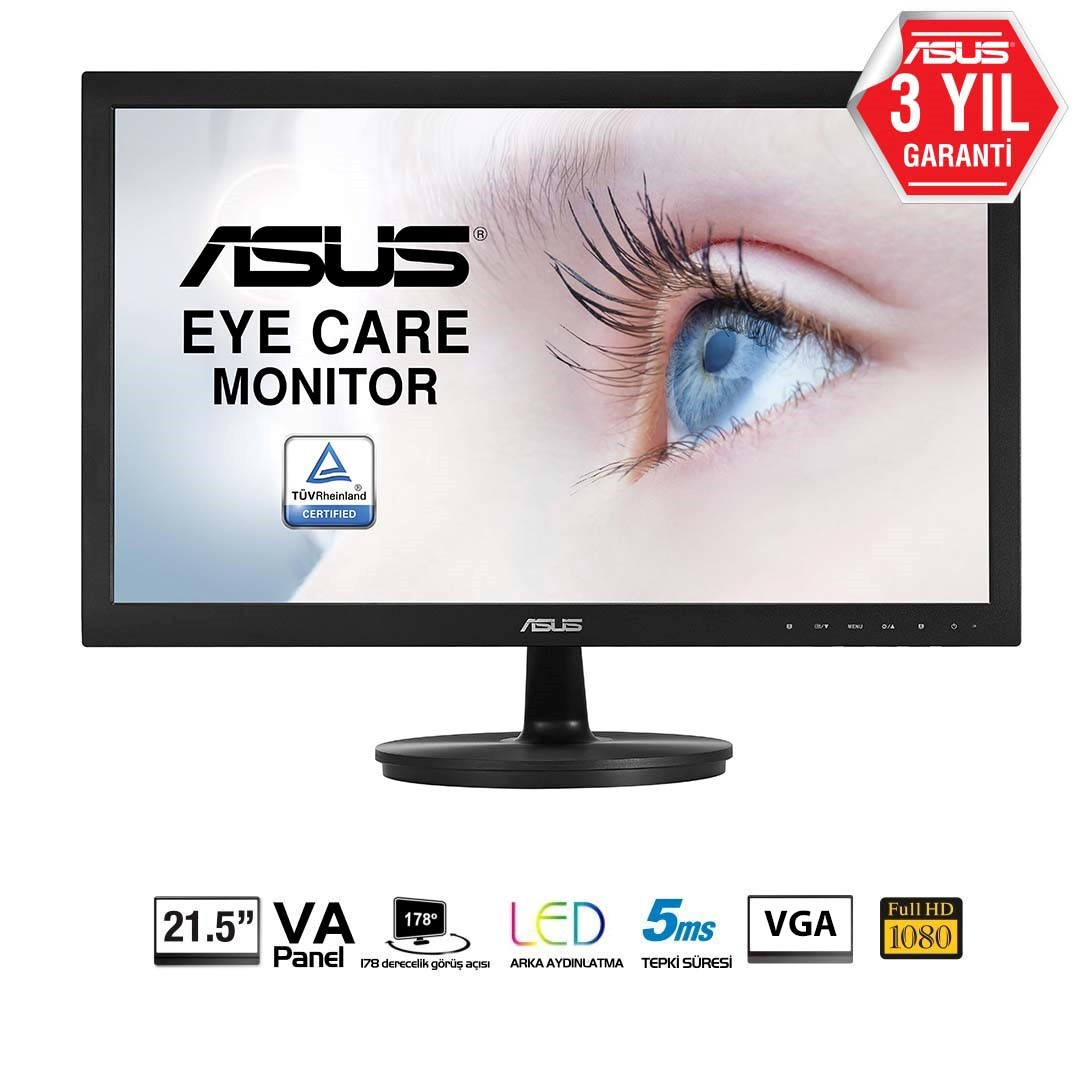 "ASUS VS229DA 21.5"" 5MS 1920x1080 VGA VESA FULL HD SİYAH LED MONITOR"