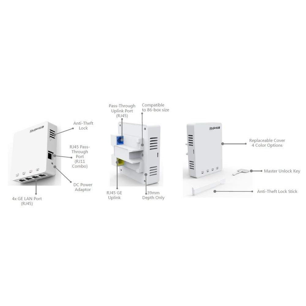 RUIJIE RG-AP130(L) 1167MBPS 4PORT 2x2MIMO 2.4 GHZ & 5 GHZ INDOOR/WALL MOUNT ACCESS POINT