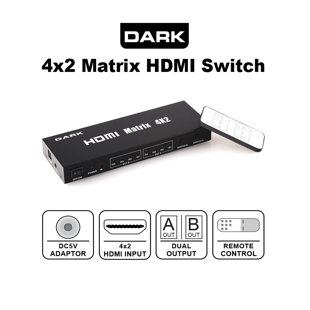 DARK DK-HD-SW4X2 4 IN / 2 OUT HDMI ÇOKLAYICI MATRIX SWITCH
