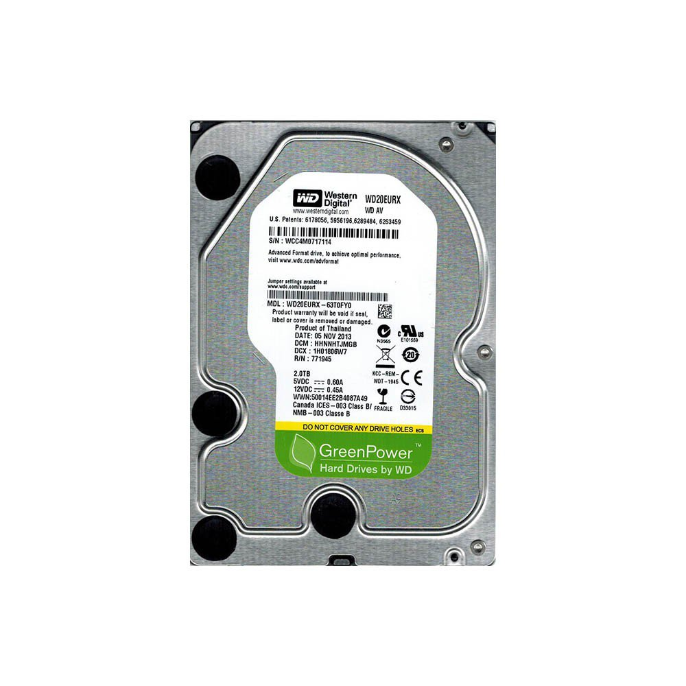 WD GREENPOWER AV-GP 2TB INTELIPOWER SATA3 6Gbit/sn WD20EURX REFURBISHED HDD