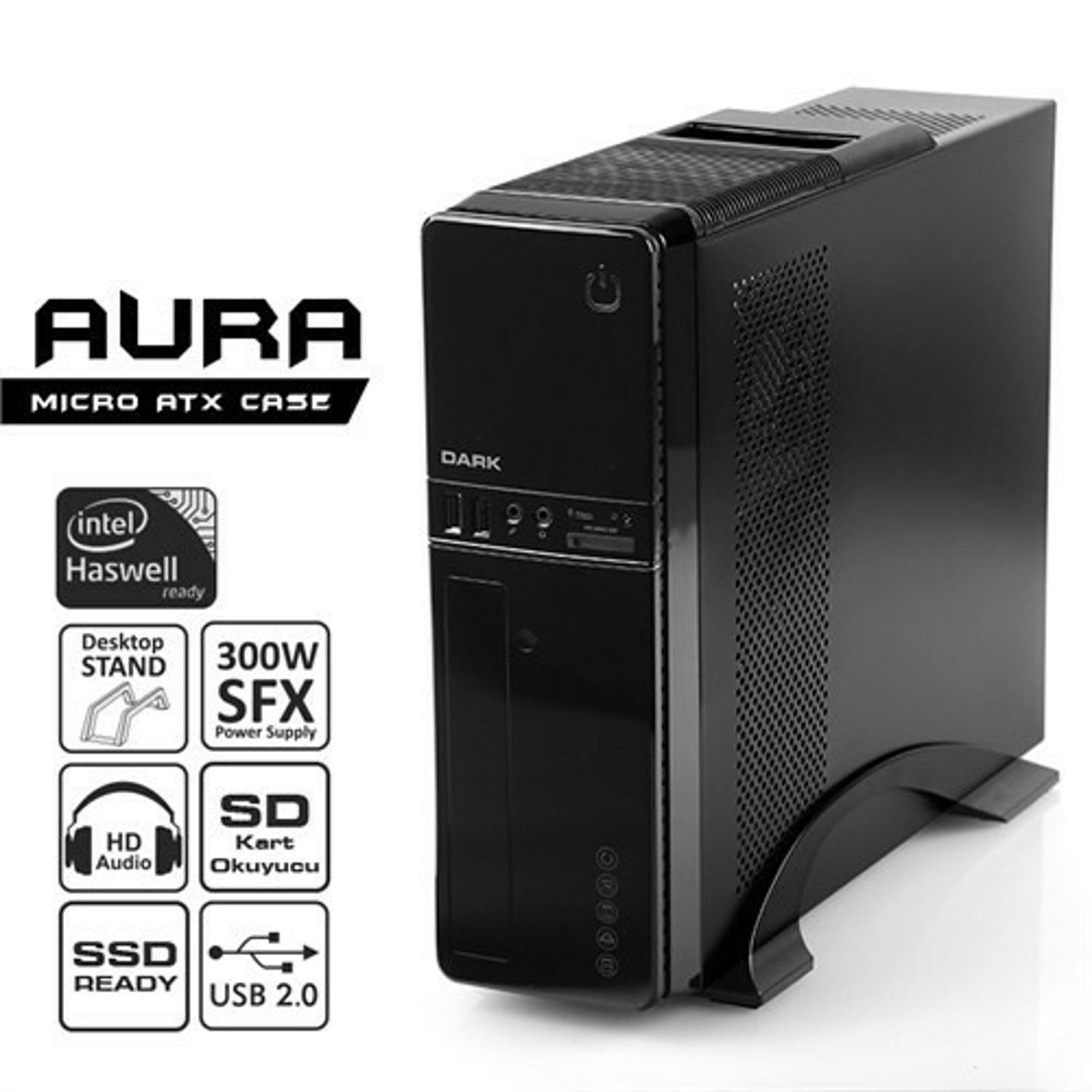 DARK AURA 300W 1x8CM FAN MICRO ATX USB 3.0 SİYAH KASA DKCHAURA300U3