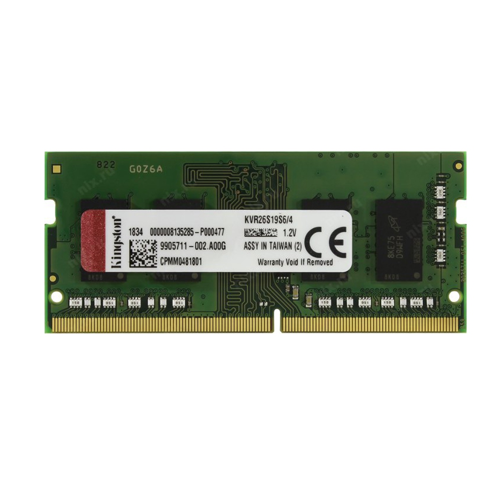 KINGSTON 4GB 2666MHz DDR4 CL19 KVR26S19S6-4 NOTEBOOK RAM