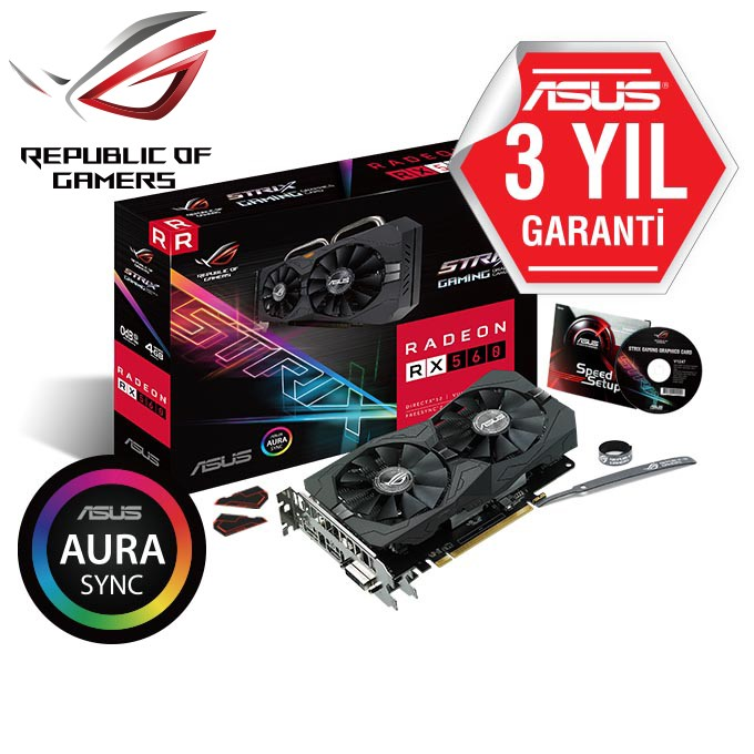 ASUS RX560 4GB DDR5 128Bit DVI/HDMI/DP 16X DX12 ROG-STRIX-RX560-O4G-GAMING