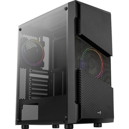 AEROCOOL MENACE SATURN PSU YOK 2x12 CM RGB FAN MIDI TOWER 2xUSB3.0 SİYAH GAMING KASA AE-MNS