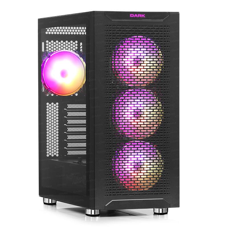 DARK MAXIMA V12 PSU YOK 4x12CM ARGB FAN MIDI TOWER 2xUSB2.0/2xUSB3.0 1xTYPE-C SİYAH GAMING KASA DKCHMAXV12