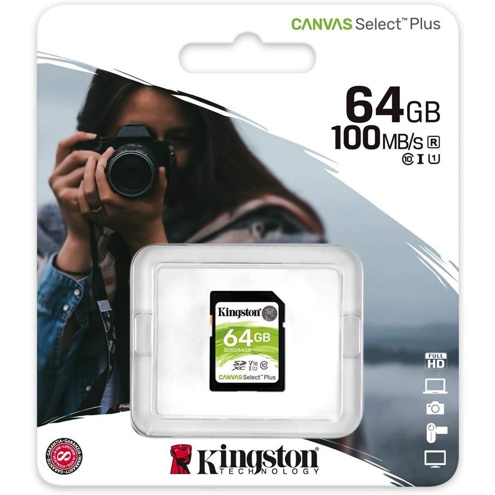 KINGSTON CANVAS SELECT PLUS 64GB SDXC CLASS10 HAFIZA KARTI SDS2/64GB