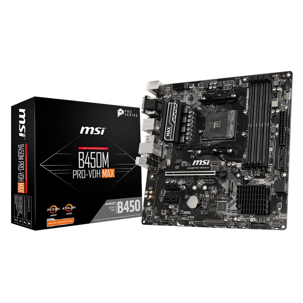MSI B450M PRO-VDH MAX B450 4xDDR4 VGA+DVI+HDMI 16X 1xM2 AM4 ANAKART