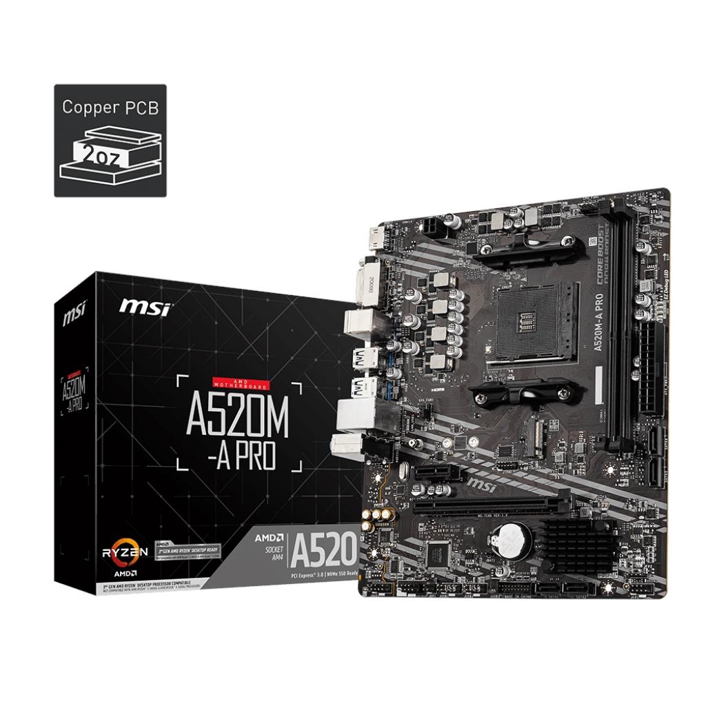 MSI A520M-A PRO A520 2xDDR4 1x DVI-D/1xHDMI 16X 1xM2 AM4 ANAKART