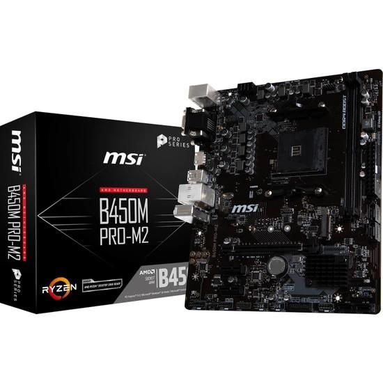 MSI B450M PRO-M2 MAX 2xDDR4 VGA/DVI/HDMI 1xM.2 1xGLAN USB3.1 AM4 ANAKART