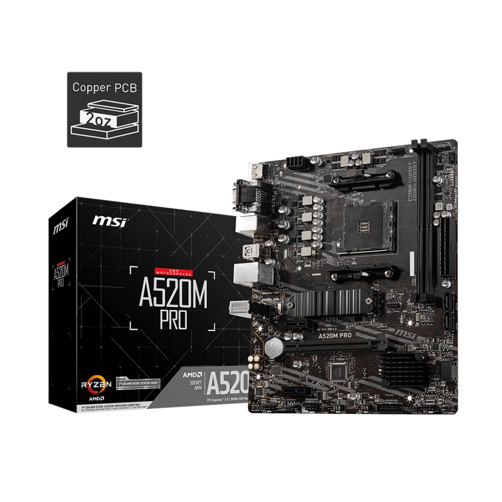 MSI A520M PRO 2xDDR4 VGA/DVI/HDMI 1xM2 1xGLAN USB3.1 AM4 ANAKART