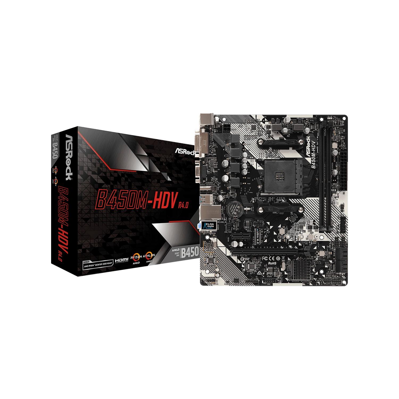 ASROCK B450M HDV R4 B450 2xDDR4 VGA+HDMI+DVI-D 16X 1xM2 AM4 ANAKART