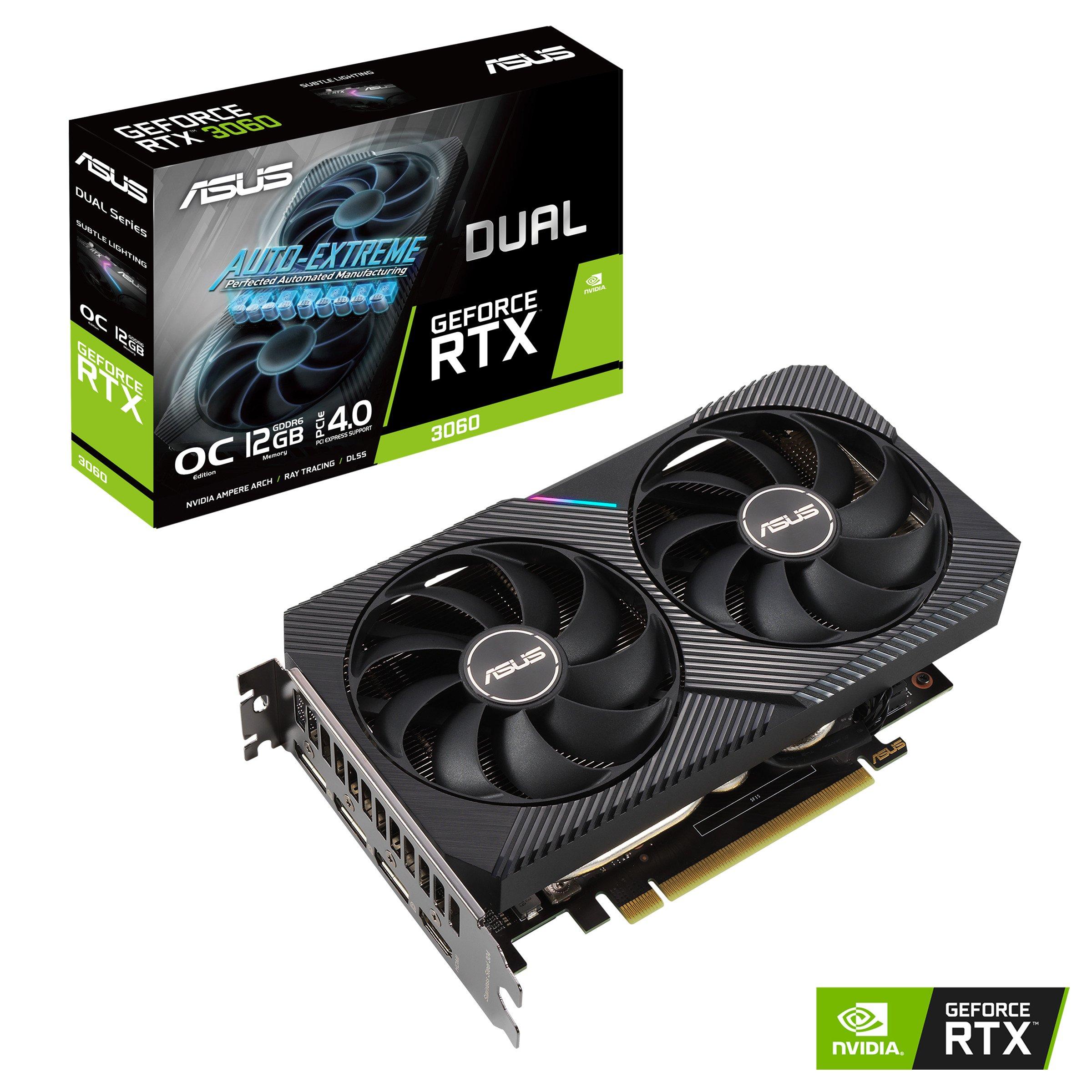 ASUS DUAL-RTX3060-O12G-V2 RTX3060 DUAL 12GB GDDR6 192Bit 3xDP/1xHDMI PCI-E 4.0 DX12